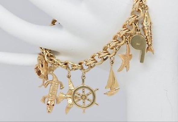 14K Yellow Gold Nautical Marine Charm Bracelet, Circa 1950