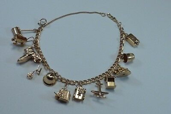 10K Yellow Gold Charm Bracelet with 13 Different Charms
