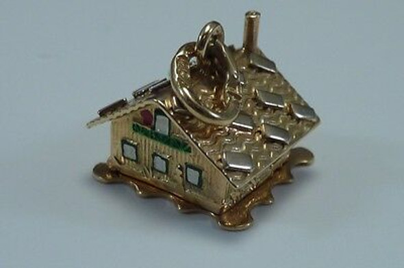 18K Yellow Gold & Enamel Mountain Cabin Charm/Pendant Articulated