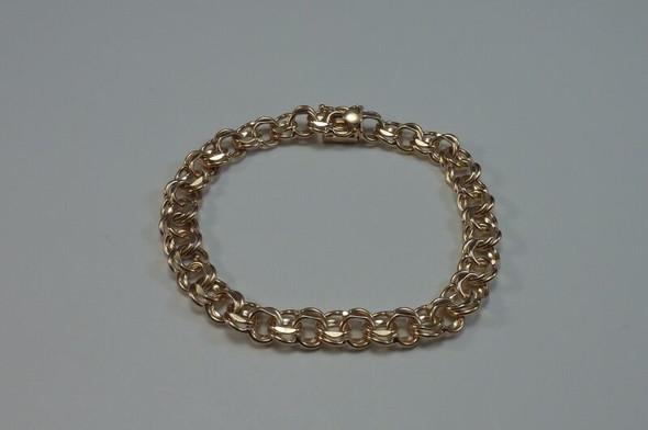 "14K Yellow Gold 7"" Double Link Charm Bracelet (WBBAa13)"