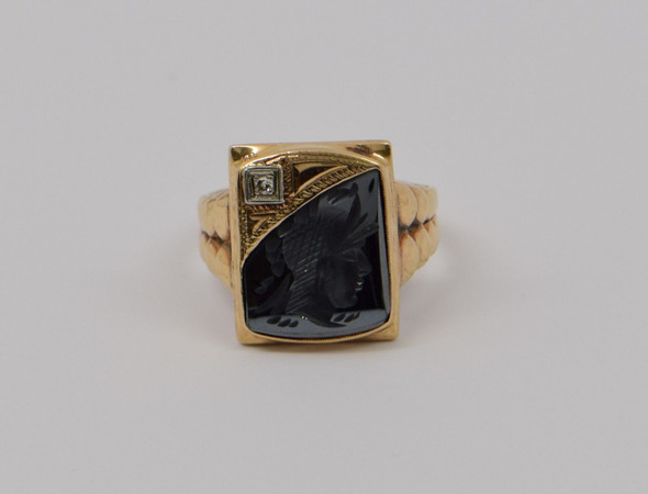 10k Yellow Gold Men's Hematite & Diamond Intaglio Roman Soldier Ring