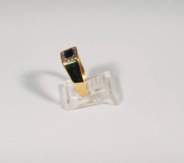 18K Yellow Gold Men's Sapphire and Diamond Ring, Size 8