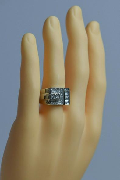 18K White Gold Superb Men's Unique Diamond Ring, Size 11