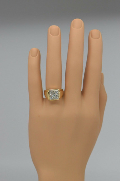 14K Yellow Gold Men's Diamond Ring Circa 1970, Size 10