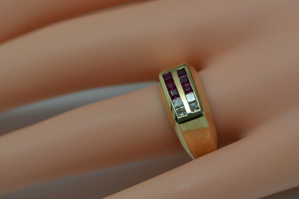 14K Yellow Gold Men's Diamond and Ruby Ring Circa 1970's, Size 8.75