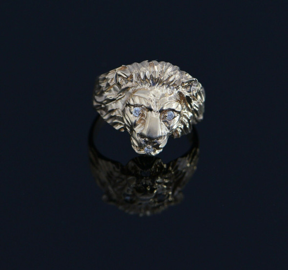 10K Yellow Gold Men's Lion Head Ring with Diamonds Circa 1970's, Size 7.5