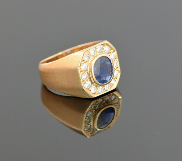 18K Yellow Gold Men's Oval Sapphire and Diamond Halo Ring Circa 1980, Size 9.5