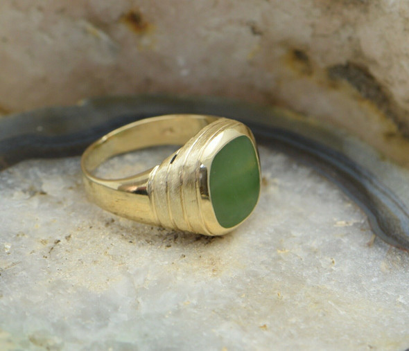 Men's 10K Yellow Gold Jade Signet Deco Style Ring Circa 1950, Size 11