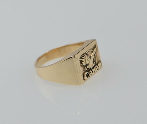 10K Yellow Gold Men's Canon Logo Ring Circa 1970, Size 10