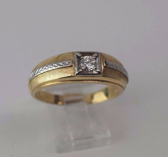 14k Two Toned Gold Men's .35 ct. G VS1 Diamond Ring, Size 14