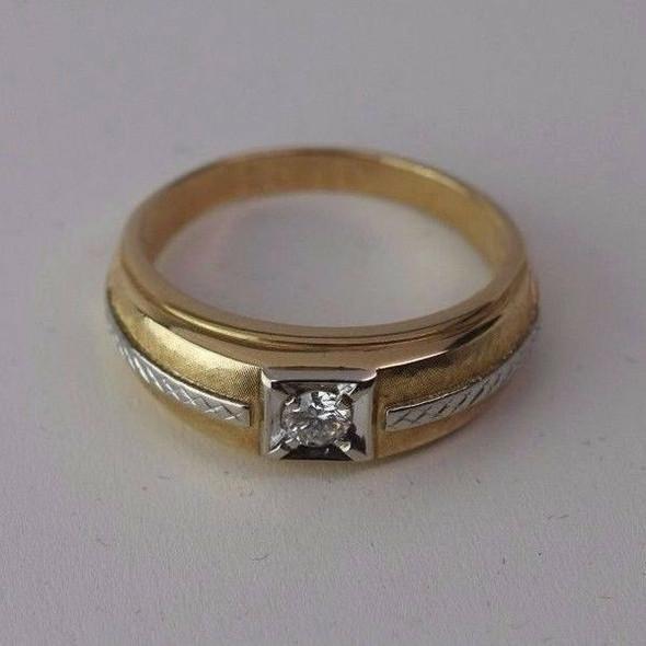 14k Two Toned Gold Men's .35 ct. G VS1 Diamond Ring, Size 14