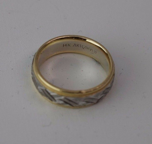 14K Two Toned Gold Men's Criss Cross Pattern Band, Size 10