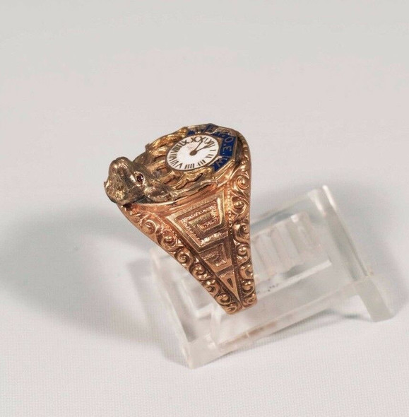 "10K Yellow Gold Men's B.P.O.E. ""Elks"" Ring, Size 6.5"