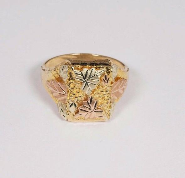 12K Tri-Color Gold Men's Leaf Ring , Size 12.5