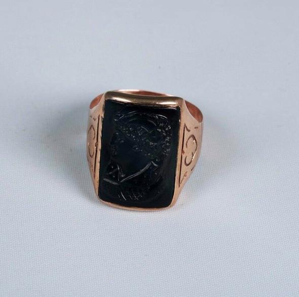 10K Yellow Gold Men's Victorian Era Cameo Ring, Size 6.25