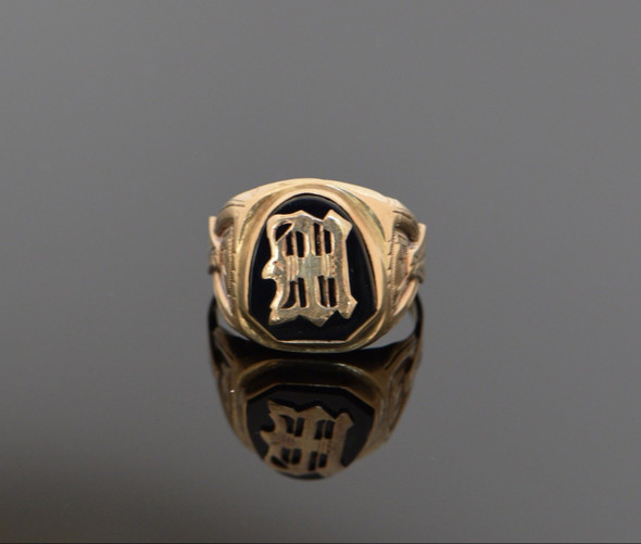 10K Yellow Gold Men's Black Onyx Signet Ring Circa 1940, Size 11.75