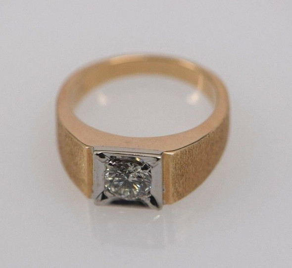 14K Yellow and White Gold Men's Solitaire Diamond Ring, size 11.25