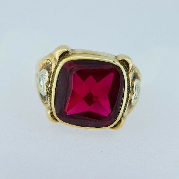 10k Yellow Gold Men's Red Spinel Synthetic Ring with Side Diamonds, Size 10