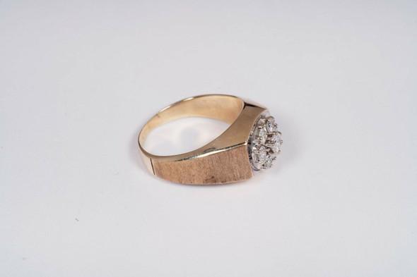 10K Yellow Gold Men's Diamond Cluster Ring , Size 11