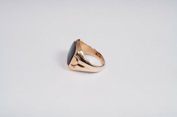10K Yellow Gold Men's Black Onyx Ring , Size 9.5