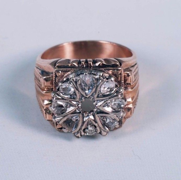 10K Yellow Gold 1920's Men's Old Rose Cut Diamond Ring app. 1 ct. tw., size 7.5