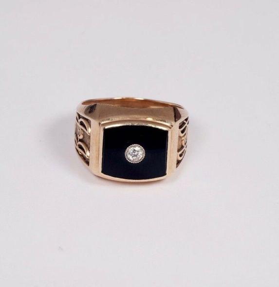 10K Yellow Gold Men's Black Onyx and Diamond Ring, Size 9