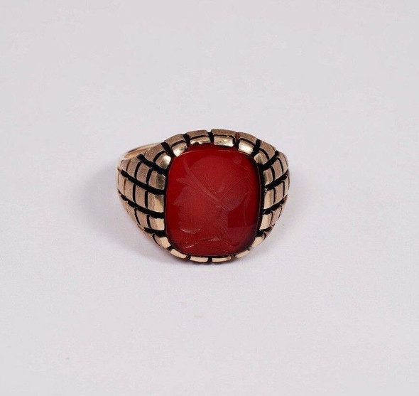 10K Yellow Gold Men's Carved Carnelian Ring, Size 12.25