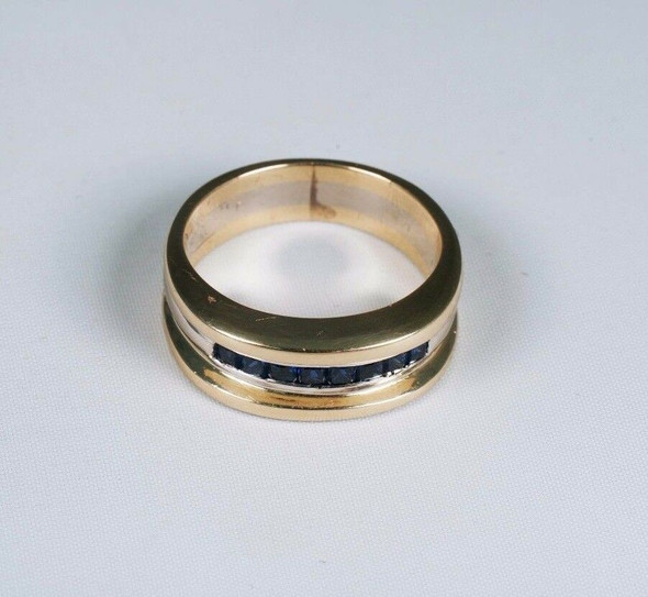 14k Yellow and White Gold Men's Sapphire Band/Ring, Size 9.25