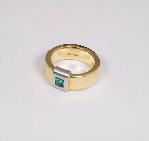 18K Yellow Gold Men's Band with Emeralds , Size 7