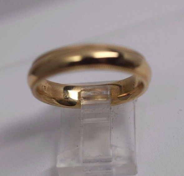 14K Yellow Gold Men's Beeded Edge Band, Size 10.5