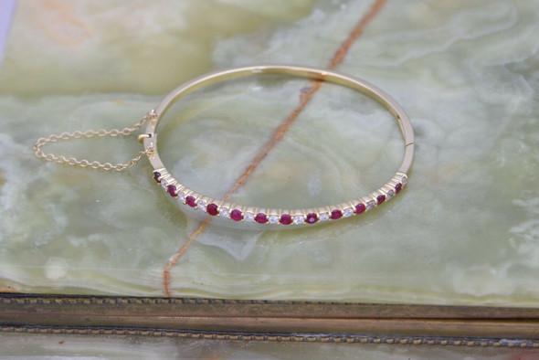 14K Yellow Gold Super Diamond & Ruby Hinged Bangle Bracelet, Circa 1970