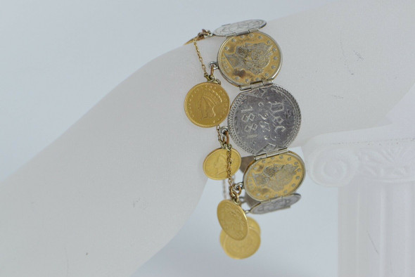 Vintage American Gold and Silver Coin Bracelet with Love Tokens Circa 1885