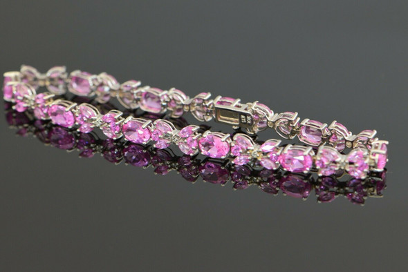 10K White Gold Pink Tourmline Like Bracelet with Diamond accents