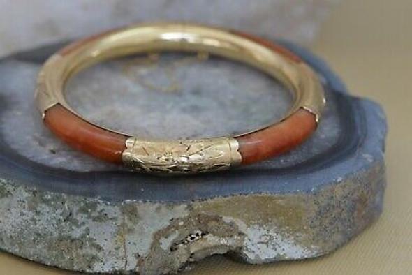 14K Yellow Gold Orange Jade Hinged Bangle Bracelet, Circa 1970