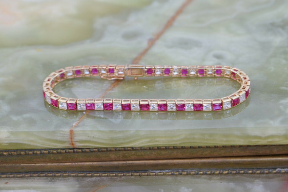 14K Yellow Gold Cubic Zirconia and Synthetic Ruby Bracelet, Circa 1960