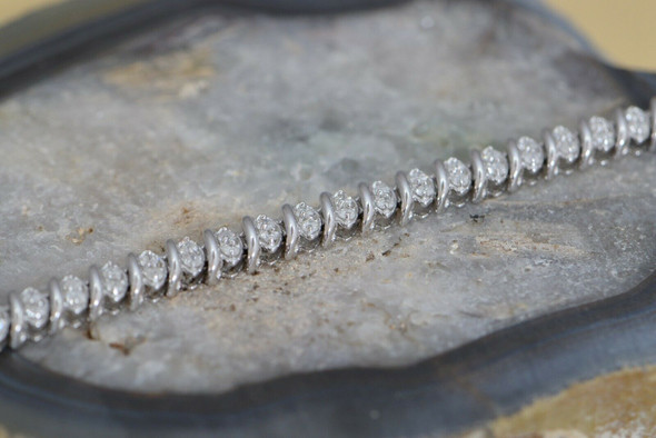 "10K White Gold Diamond Bracelet 2 ct. tw., 7"" Long"