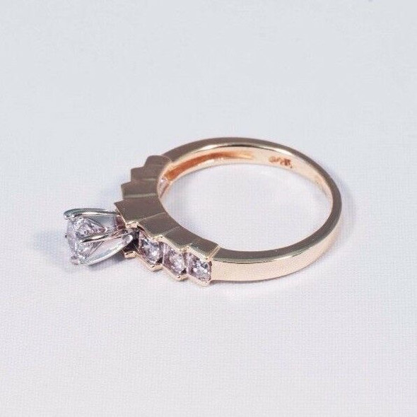 14K Yellow Gold Diamond Engagement Ring 7 Stone Pyramid Design, 1ct TW, size 5.5