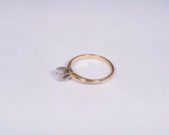 14K Yellow Gold app. .6ct. Diamond Engagement Ring , Size 6.5