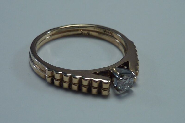 10K Yellow Gold Diamond Engagement & Wedding Ring Set size 6.5