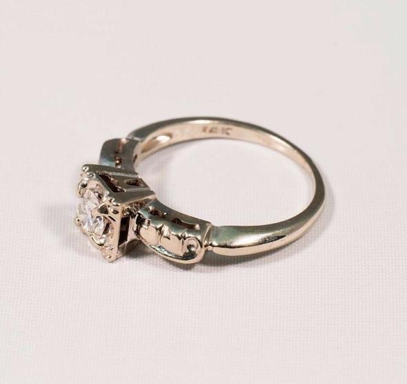14K White Gold 1940's Diamond Engagement Ring w/Antique Mount, size 6.5