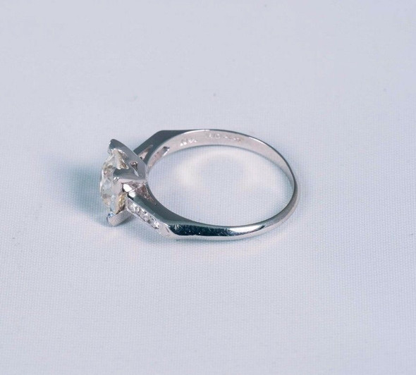Platinum Diamond Engagement Ring with High Quality 1.75 ct. Center , size 7.25