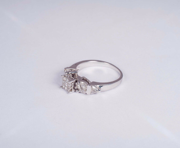 14K White Gold Invisible set Engagement Ring with .95 ct tw., size 6.5