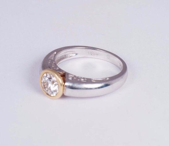 Platinum and 18K Yellow Gold Bezel Set app. 1ct. Engagement Ring size 7