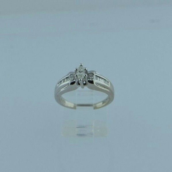 14K White Gold Marquise Center Engagement Ring, .50 ct. tw., Size 7