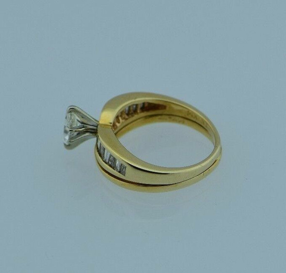 14K Yellow Gold Marquise Engagement Ring w/14 Baguettes, 1.5 ct. tw., Size 5.75