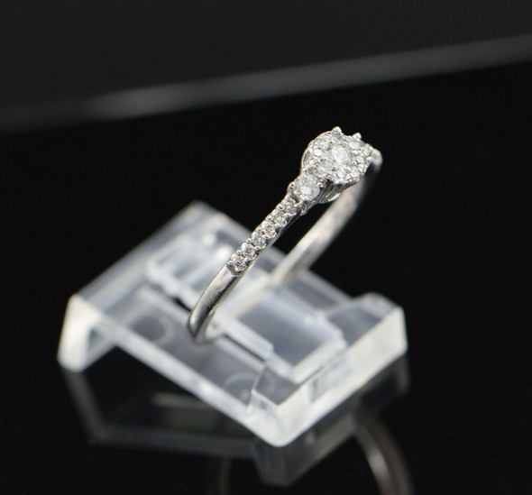 10K Yellow Gold Diamond Cluster Engagement Ring Circa 1980, Size 6.75