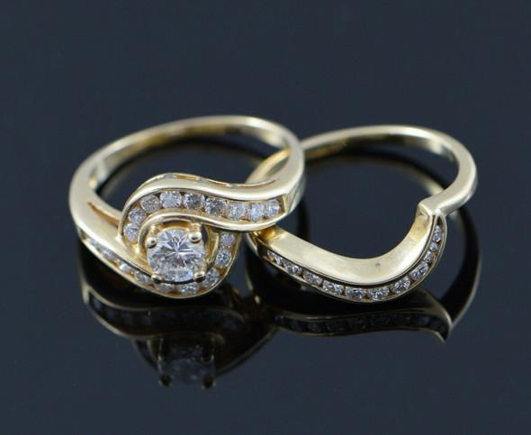 14K Yellow Gold 2 Piece Engagement Ring Set circa 1980 , Size 5.75