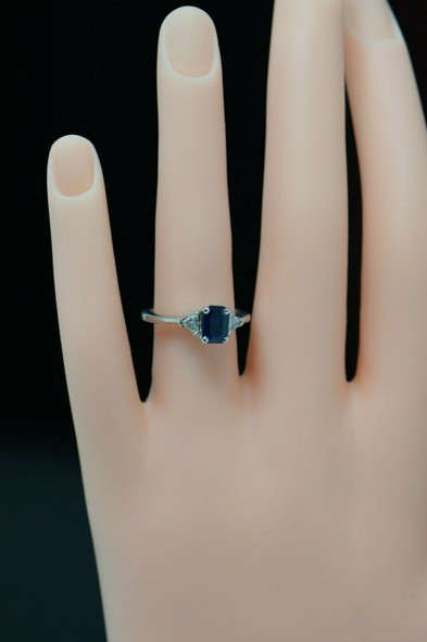 14K White Gold Sapphire and Diamond Engagement Ring Circa 1950, Size 6