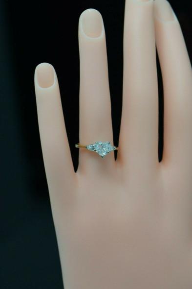 18K Yellow Gold Heart Shaped Diamond Engagement Ring Circa 1960, Size 7
