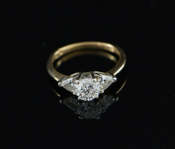 14K Yellow Gold Diamond Engagement Ring Circa 1960, Size 5.5